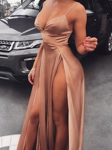 Cheap Prom Dresses Aline Spaghetti Straps Deep V Chic Simple Double Slit Prom Dress JKL1566|Annapromdress