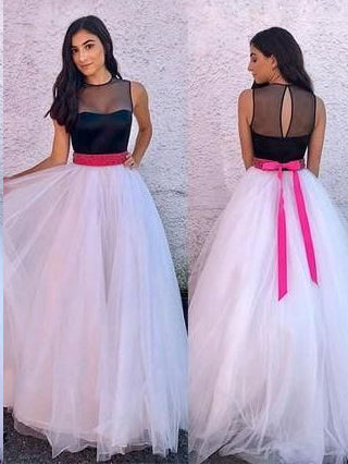 Simple Prom Dresses with Fuchsia Sash Key Hole Back Aline Bowknot Simple Prom Dress JKL1569|Annapromdress