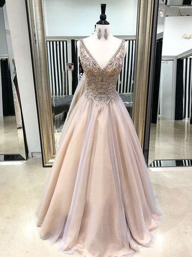 Sparkly Prom Dresses with Straps V-neck A Line Long Beaded Tulle Chic Prom Dress JKL1575|Annapromdress