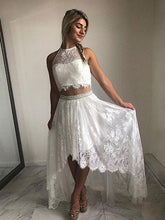 Two Piece Prom Dresses Aline Halter Lace Open Back Simple High-low Prom Dress JKL1579|Annapromdress