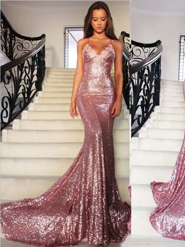 Sexy Prom Dresses Fuchsia Spaghetti Straps Trumpet/Mermaid Long Prom Dress/Evening Dress JKL157