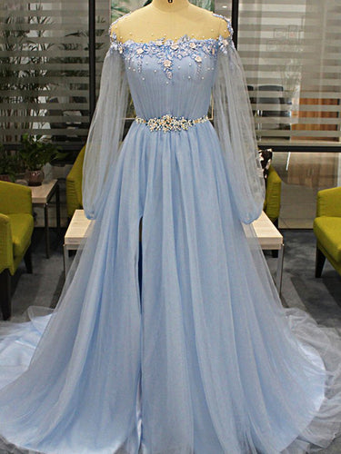 Long Sleeve Prom Dresses Scoop A-line Long Beaded Simple Prom Dress Fashion Evening Dress JKL1581|Annapromdress
