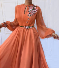 Long Sleeve Prom Dresses A-line Hand-Made Flower Chiffon Prom Dress Long Evening Dress JKL1584|Annapromdress