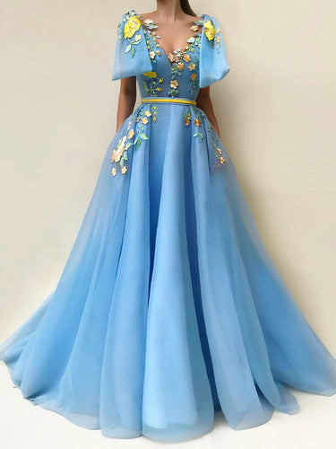 Beautiful Prom Dresses with Pockets A Line Floor-length Embroidery Long Chic Prom Dress JKL1585|Annapromdress