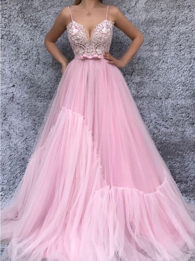de5be8245a6a Pink Prom Dresses with Spaghetti Straps A Line Appliques Long Chic Pink  Prom Dress JKL1588