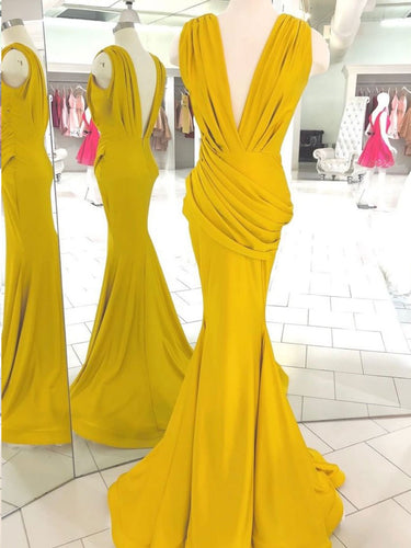 Open Back Prom Dresses Deep V Neck Ruffles Long Simple Mermaid Prom Dress JKL1589|Annapromdress