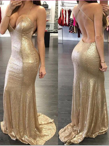 Chic Prom Dresses Sheath/Column Spaghetti Straps Long Prom Dress/Evening Dress JKL158