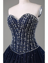 Ball Gown Prom Dresses Sweetheart Floor-length Dark Navy Satin Prom Dress/Evening Dress JKL159