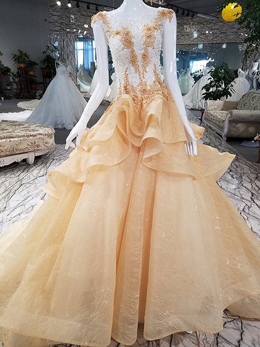 Sparkly Prom Dresses Bateau Sweep Train Appliques Beaded Lace Luxury Prom Dress JKL1590|Annapromdress