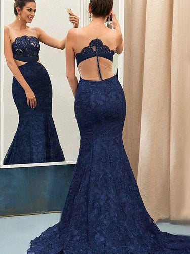 Lace Prom Dresses Mermaid Trumpet Dark Navy Long Beautiful Cheap Prom Dress JKL1592|Annapromdress