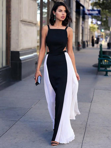 Simple Prom Dresses with Straps A Line White and Black Floor-length Long Cheap Prom Dress JKL1595|Annapromdress