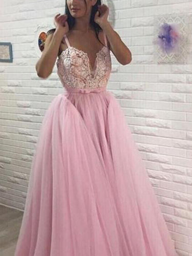 Open Back Prom Dresses with Straps Aline Appliques Long Fairy Pink Prom Dress JKL1596|Annapromdress
