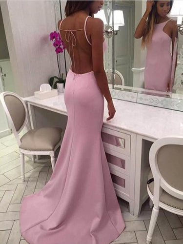 Backless Prom Dresses Mermaid Scoop Sweep Train Pink Simple Open Back Prom Dress JKL1597|Annapromdress