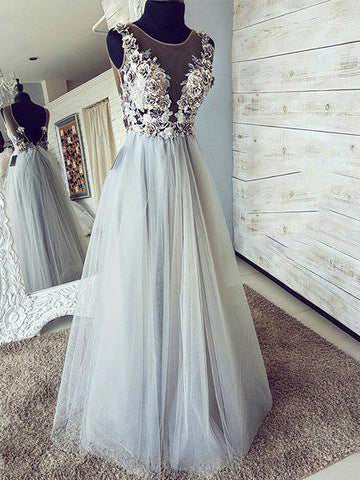 Open Back Prom Dresses Aline Appliques Long See Through Chic Tulle Prom Dress JKL1598|Annapromdress