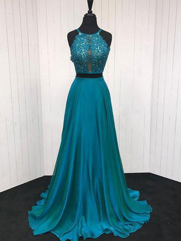 Two Piece Prom Dresses A-line Halter Appliques Long Simple Cheap Prom Dress JKL1599|Annapromdress