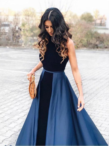 Fashion Prom Dresses Scoop Sweep Train A-line Simple Dark Navy Long Prom Dress JKL1600|Annapromdress