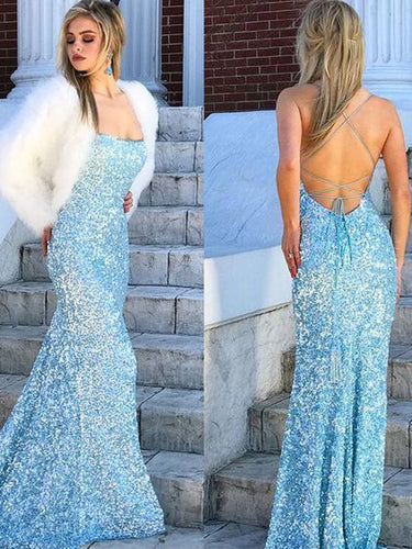 Mermaid Prom Dresses with Straps Open Back Simple Blue Sequins Lace Long Prom Dress JKL1603|Annapromdress