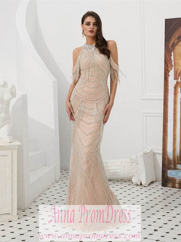 Sparkly Prom Dresses Scoop Sheath Back Slit Beaded Prom Dress Sexy Evening Dress JKL1604|Annapromdress