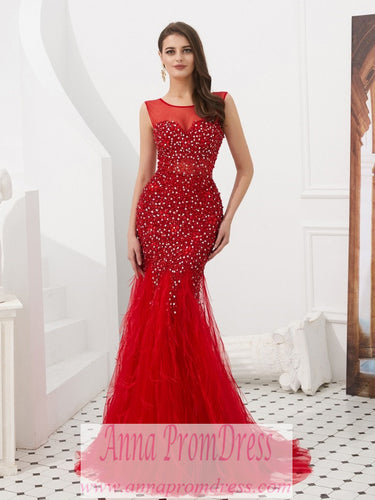 Red Prom Dresses Scoop Trumpet Mermaid Plume Beaded Long Open Back Prom Dress JKL1605|Annapromdress