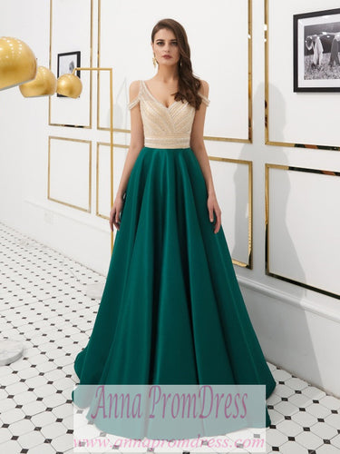 Sparkly Prom Dresses Aline Beading V-neck Open Back Satin Dark Green Prom Dress JKL1606|Annapromdress