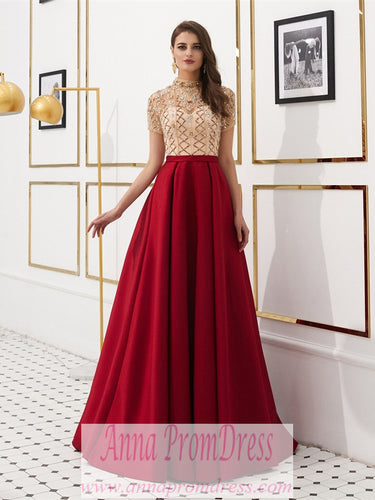 High Neck Prom Dresses A Line Burgundy Long Beaded Prom Dress Gorgeous Evening Dress JKL1607|Annapromdress