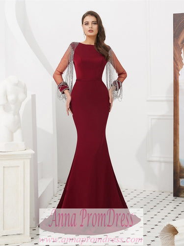 Long Sleeve Prom Dresses Mermaid Long Burgundy Beading Sexy Gorgeous Prom Dress JKL1608|Annapromdress