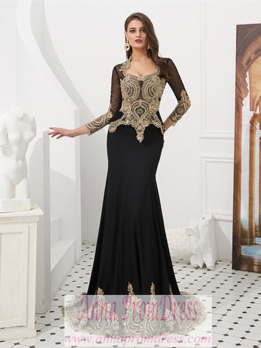 Long Sleeve Prom Dresses V-neck Mermaid Cape Black Prom Dress Fashion Evening Dress JKL1609|Annapromdress