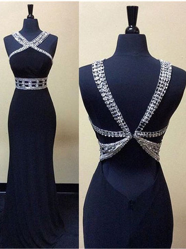 Sexy Prom Dresses Halter Sheath/Column Black Chiffon Prom Dress/Evening Dress JKL160