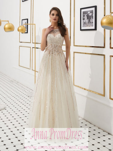 Sparkly Prom Dresses Scoop Aline Key Hole Back Beaded Long Gorgeous Prom Dress JKL1610|Annapromdress