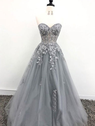 Fairy Prom Dresses Sweetheart A-line Long Tulle Grey Prom Dress Fashion Evening Dress JKL1611|Annapromdress