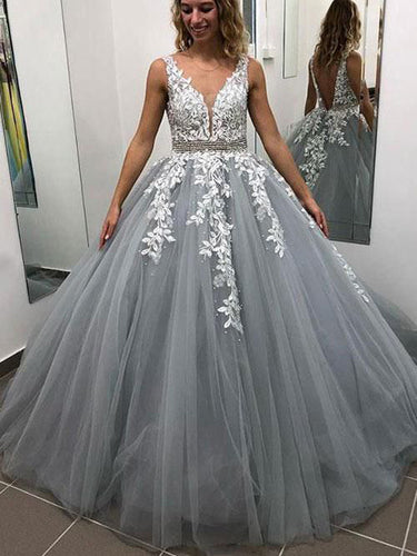 Open Back Prom Dresses with Straps Aline V Neck Appliques Grey Long Prom Dress JKL1612|Annapromdress