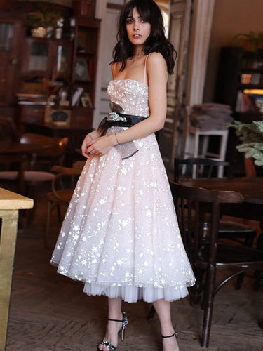 Sparkly Prom Dresses with Straps Star Lace Tea-length Prom Dress Fashion Evening Dress JKL1614|Annapromdress