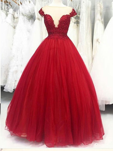 Burgundy Prom Dresses Cape Sleeve Lace Pearls Prom Dress Ball Gown Evening Dress JKL1615|Annapromdress