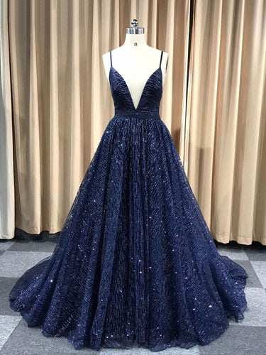 Sparkly Prom Dresses with Spaghetti Straps Aline Long Dark Navy Gorgeous Prom Dress JKL1616|Annapromdress