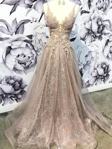 Beautiful Prom Dresses Aline Deep V Neck Open Back Glitter Lace Long Prom Dress JKL1617|Annapromdress