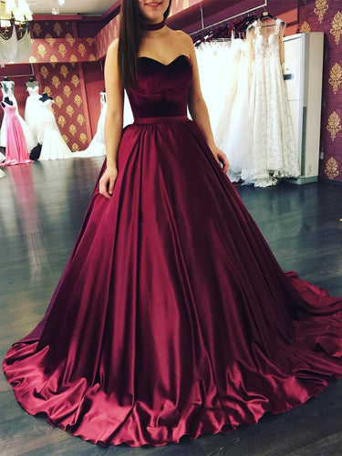 Ball Gown Prom Dresses Sweetheart Floor-length Satin Prom Dress/Evening Dress JKL161