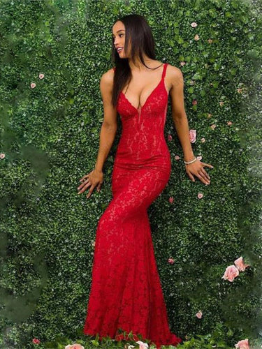 Red Prom Dresses with Straps Sheath Column Open Back Lace Sexy Backless Prom Dress JKL1622|Annapromdress