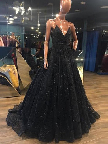 Sparkly Prom Dresses with Spaghetti Straps A-line Long Sequin Lace Slit Black Prom Dress JKL1623|Annapromdress