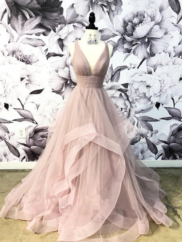 Open Back Prom Dresses with Straps V-neck Dusty Rose Prom Dress Fashion Evening Dress JKL1624|Annapromdress