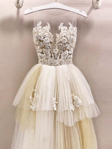 Open Back Prom Dresses Aline Sweep Train Fairy Tulle Prom Dress Fashion Evening Dress JKL1625|Annapromdress