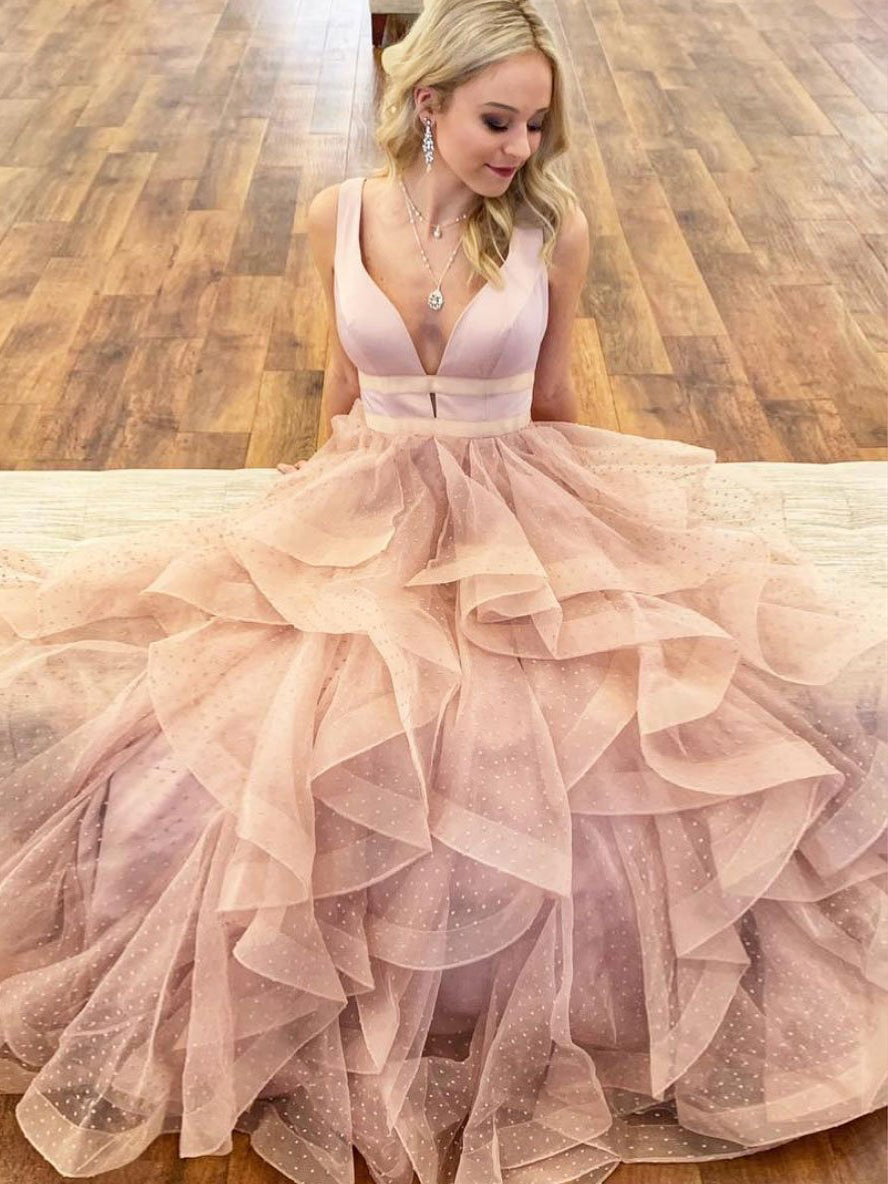 Lace Prom Dresses with Straps Deep V Neck Aline Long Tulle Pink Prom Dress JKL1626|Annapromdress