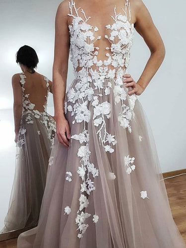 Beautiful Prom Dresses Aline See Through Open Back Appliques Long Prom Dress JKL1633|Annapromdress