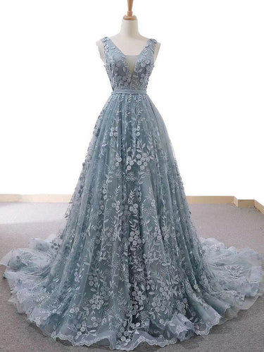Fashion Prom Dresses with Straps A Line Long Dusty Blue Prom Dress Lace Evening Dress JKL1634|Annapromdress
