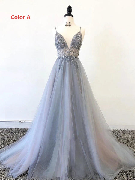 Sparkly Prom Dresses Aline Spaghetti Straps Long Grey Prom Dress Fashion Evening Dress JKL1635|Annapromdress