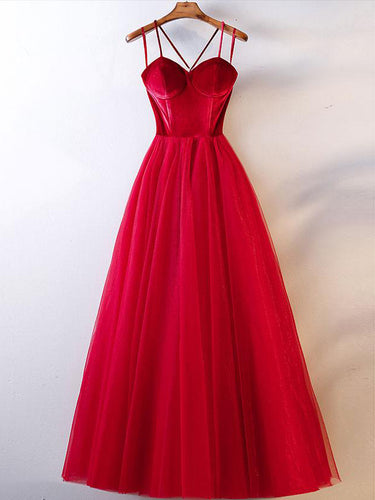 Red Prom Dresses Spaghetti Straps Floor-length Aline Long Velvet Simple Prom Dress JKL1636|Annapromdress