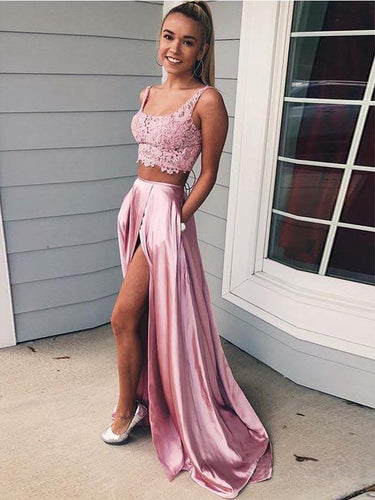 Two Piece Prom Dresses with Straps Aline Open Back Deep Slit Long Pink Lace Prom Dress JKL1637|Annapromdress