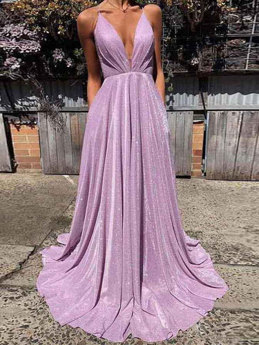 Backless Prom Dresses Spaghetti Straps Aline Sparkly Lilac Prom Dress Fashion Evening Dress JKL1639|Annapromdress