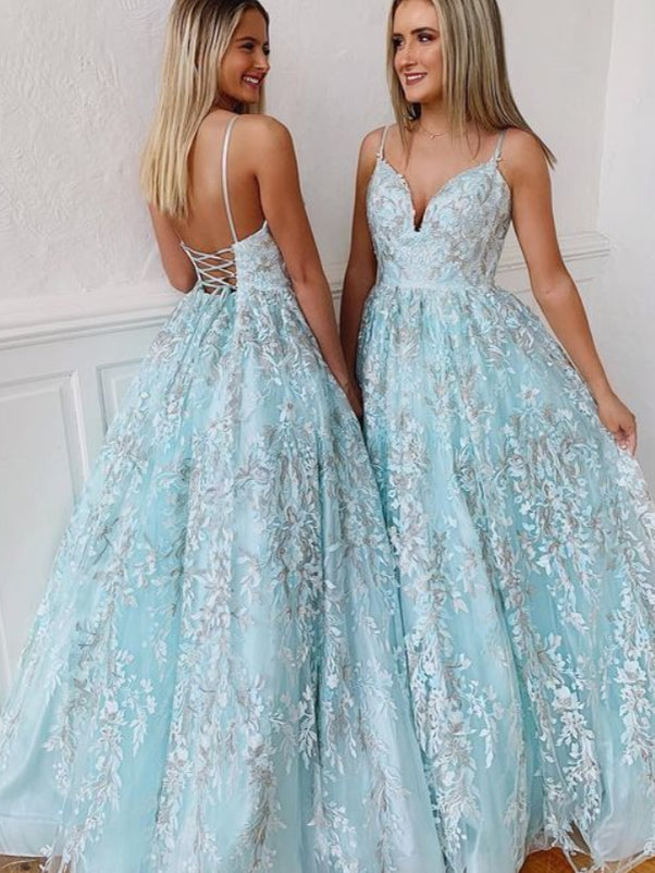 Backless Prom Dresses Spaghetti Straps Aline Ice Blue Lace Prom Dress Floral Evening Dress JKL1641|Annapromdress