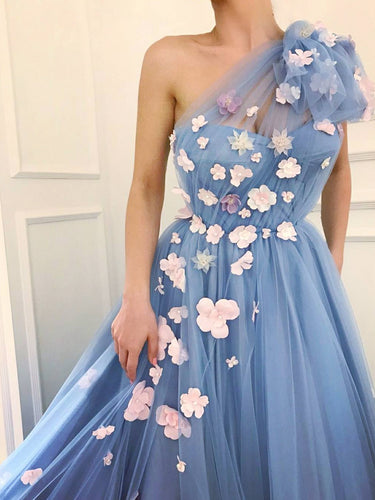 One Shoulder Prom Dresses Aline Pink Hand-Made Flower Lavender Cheap Long Prom Dress JKL1642|Annapromdress