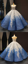 Ball Gown Prom Dresses Luxury Cap Sleeve Floral Lace Long Royal Blue Ombre Prom Dress JKL1643|Annapromdress